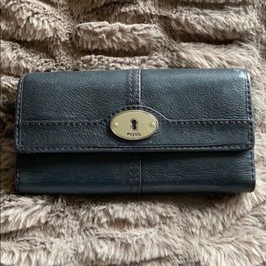 FOSSIL Flap Wallet Clutch Black Leather